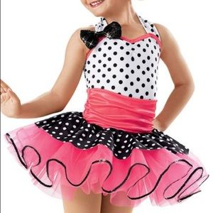 Weissman Dance Pink Black Polka Dot Costume